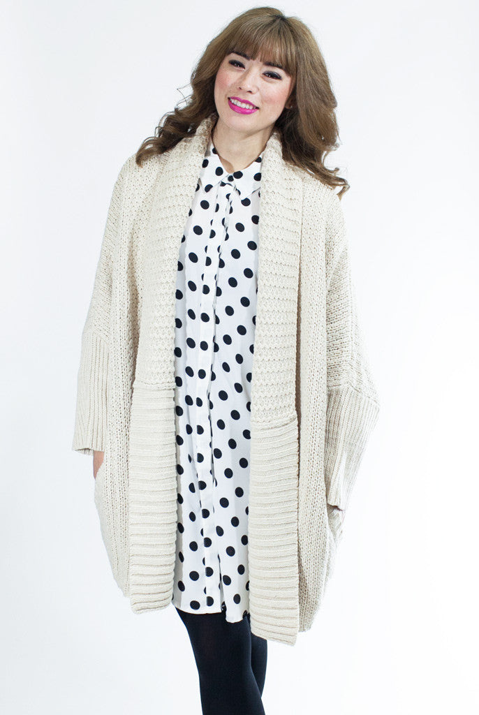 Cream dolman sleeve cardigan