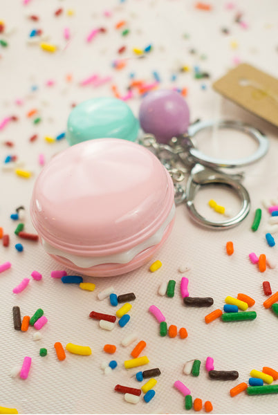 cute macaron keychain with pink and purple cookies