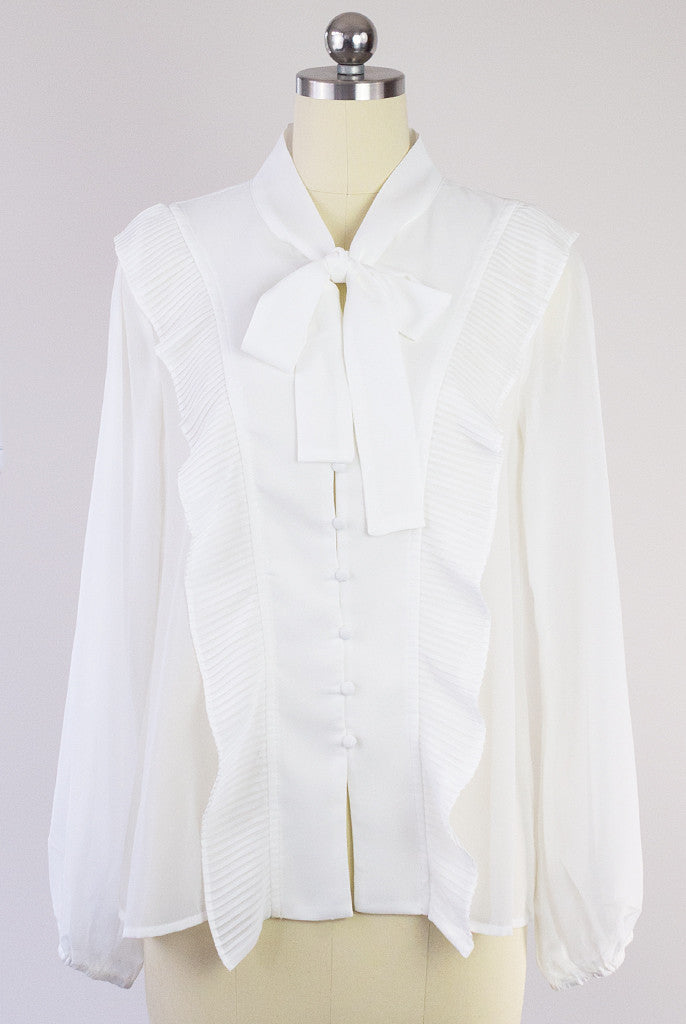 dressy white blouse with bow necktie