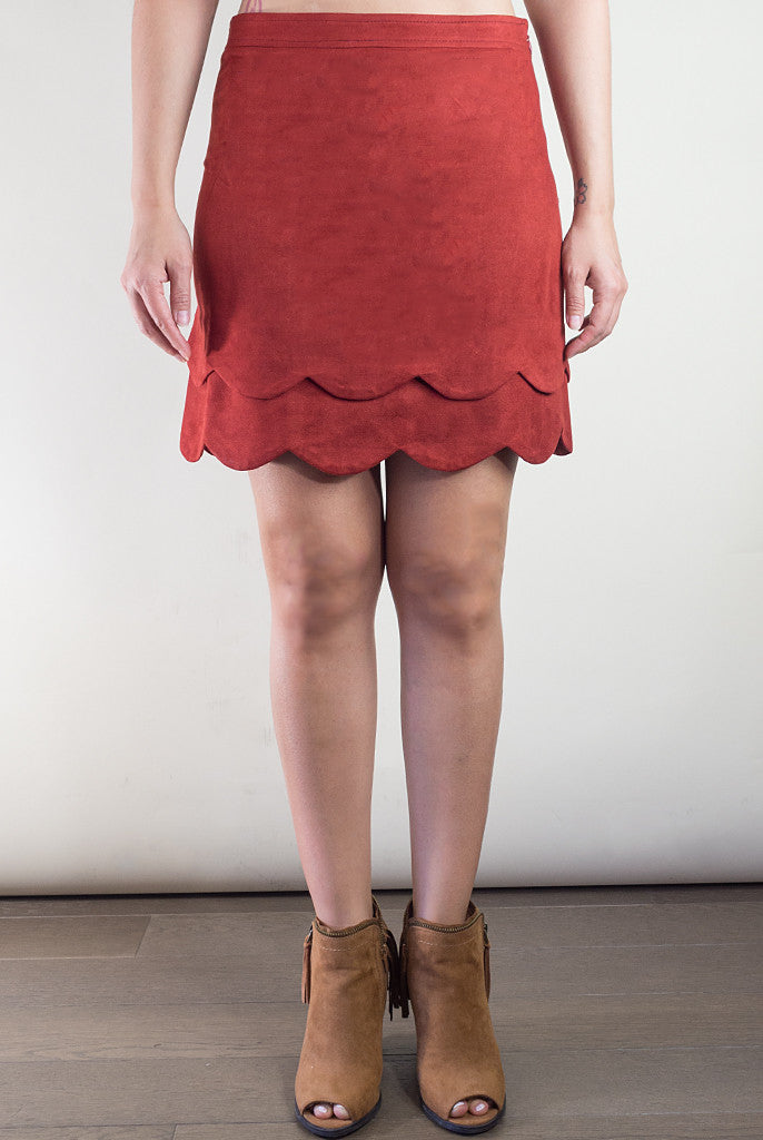 faux suede miniskirt with scallop trim
