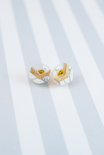gold white marble chevron earrings