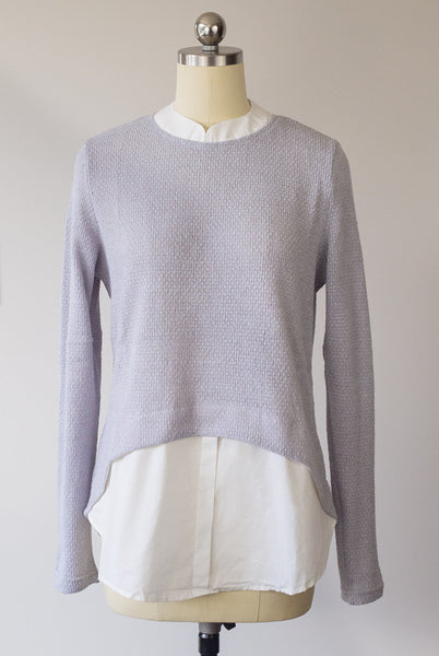 gray faux layer sweater