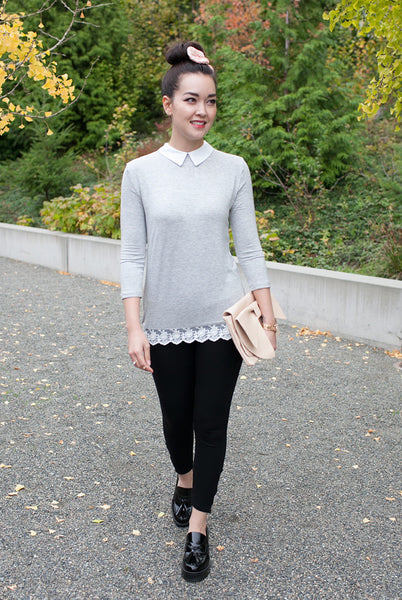 gray korean fashion top