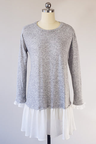 Ruffle in Delight Gray Sweater