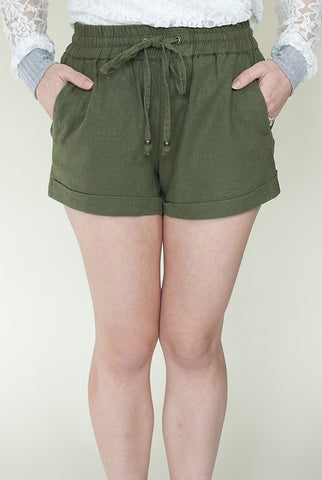 Let's Explore Linen Shorts in Olive