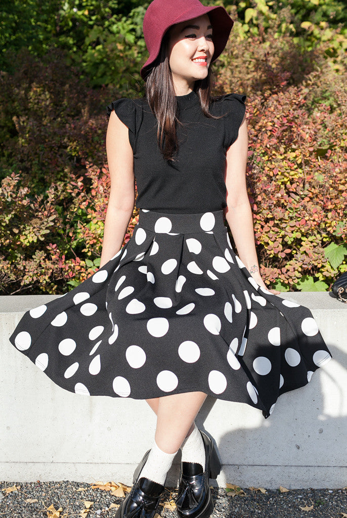 japanese fashion polka do midi skirt