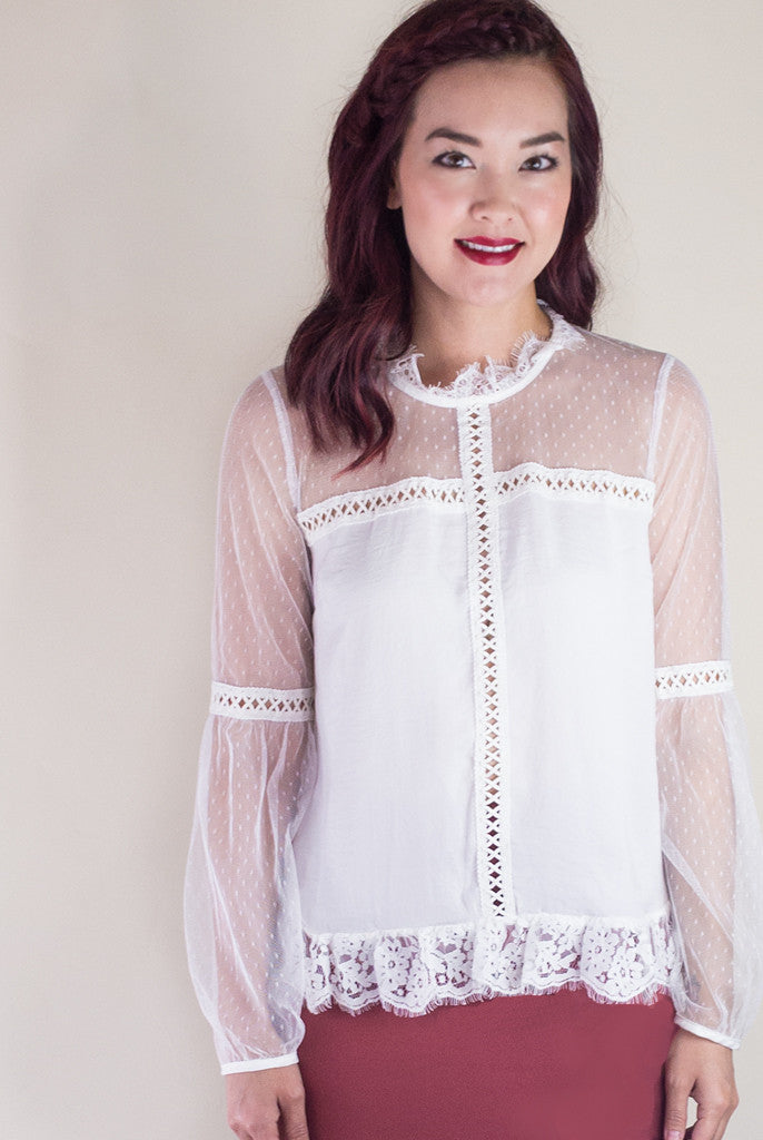lace high collar blouse