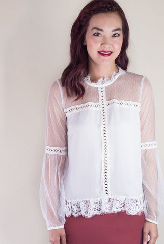 Hopeless Romantic Dotted Swiss Blouse in White