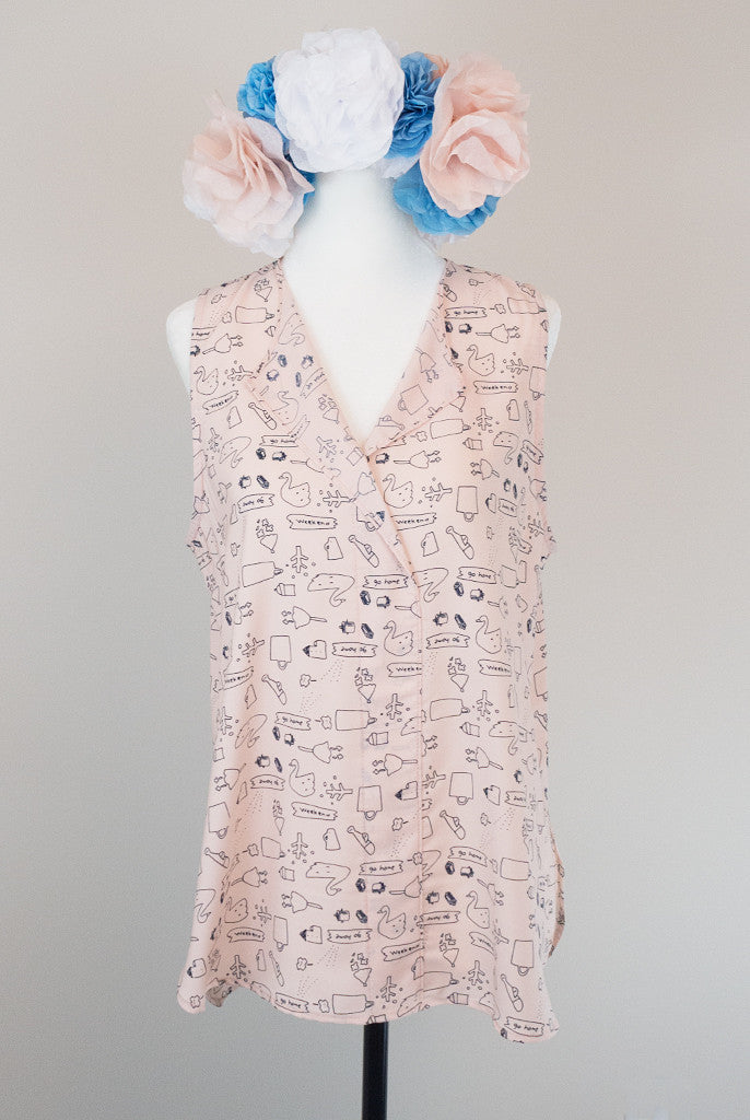 light pink blouse with cute pattern