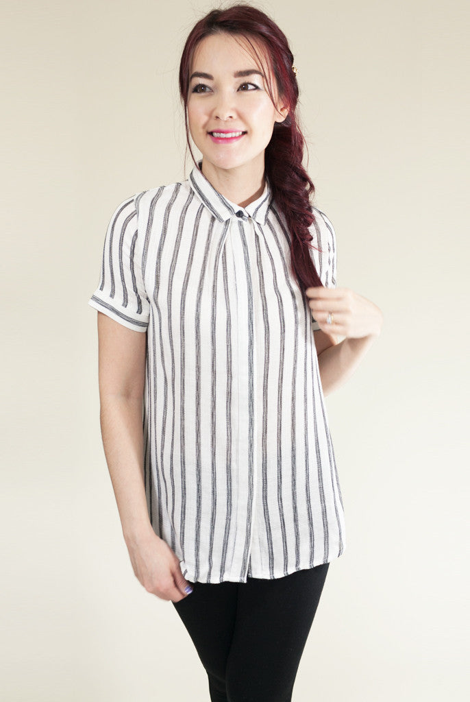 cotton black and white stripe top