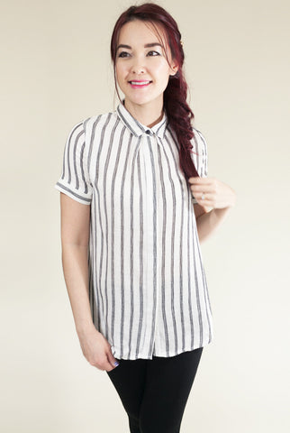 Class Act Top with Black and White Stripes