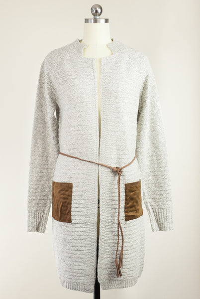 faux suede pocket longline cardigan