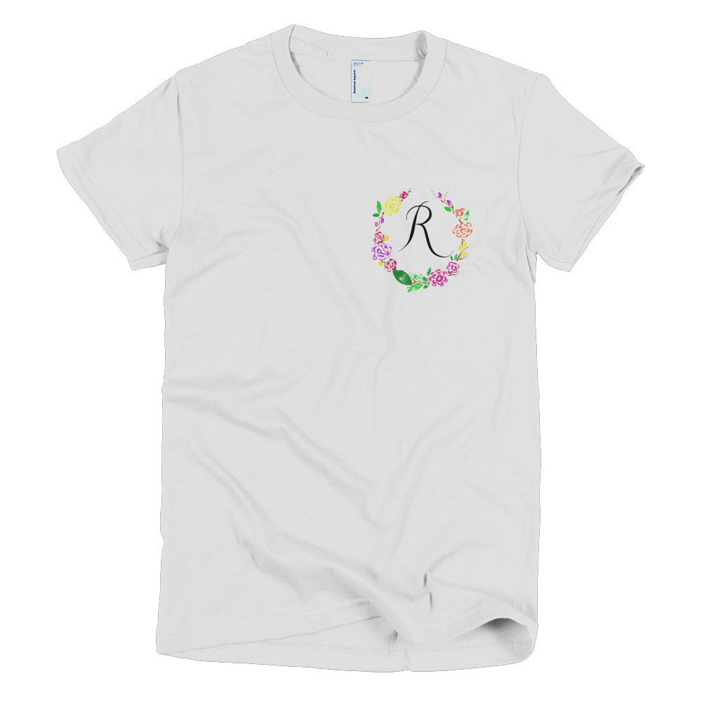 Pocket of Flowers Monogram T-Shirt Letter R