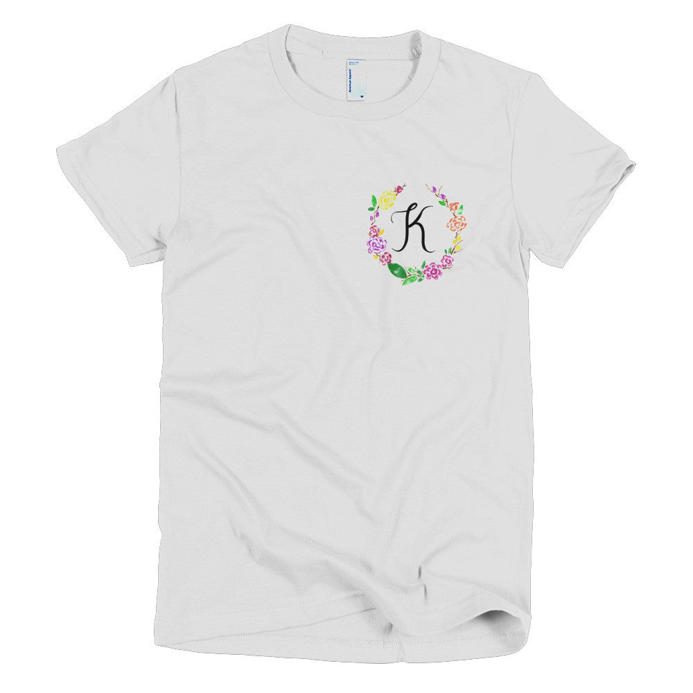 Pocket of Flowers Monogram T-Shirt Letter K