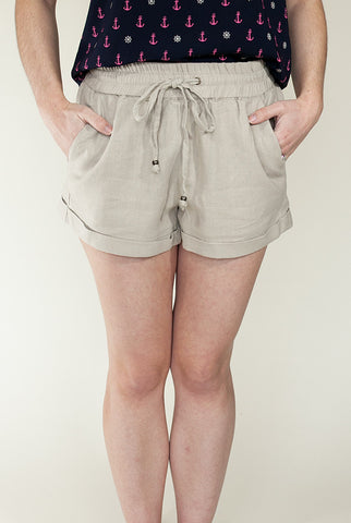 Let's Explore Linen Shorts in Beige