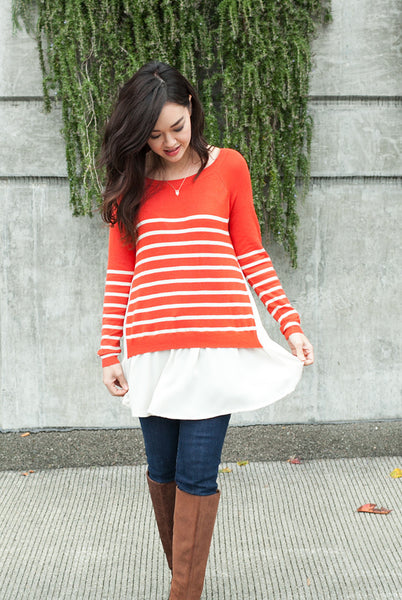 nautical stripe sweater with chiffon trim in orange