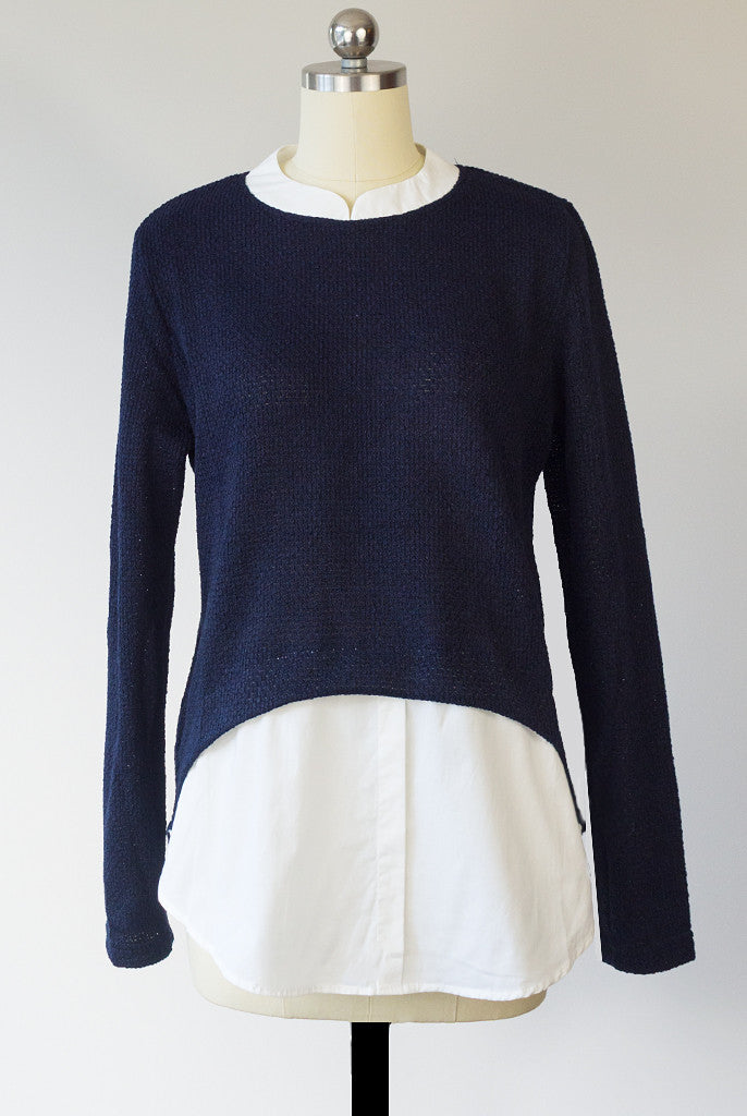 navy faux layer sweater