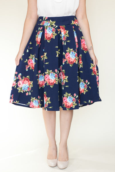 navy floral high waist skirt