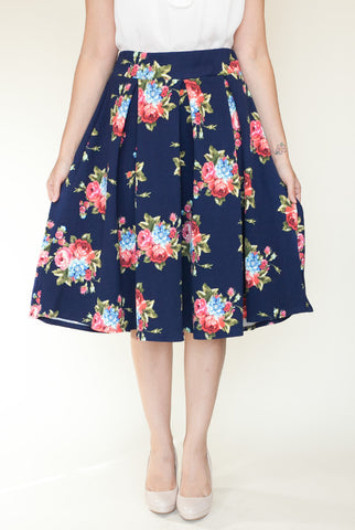 Garden Party Floral Skirt in Navy
