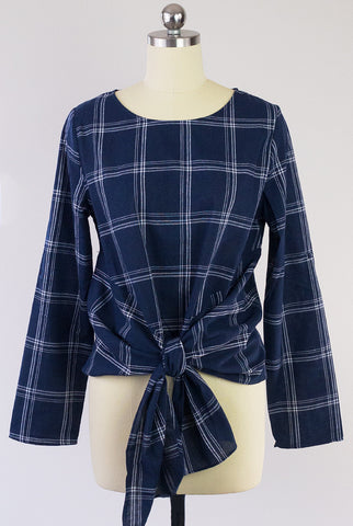 Falling For You Plaid Front Tie Top