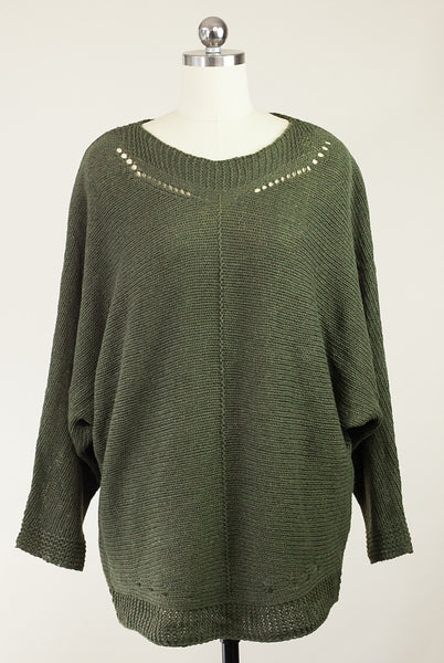 oversize olive sweater with dolman sleeves
