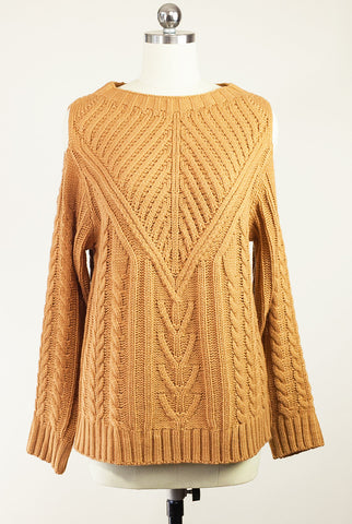 Golden Hour Cold Shoulder Cable Knit Sweater