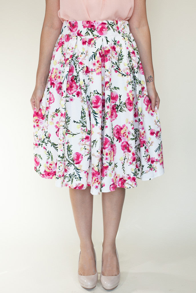 pink and white floral a-line skirt