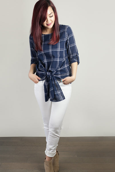 Plaid top with front tie