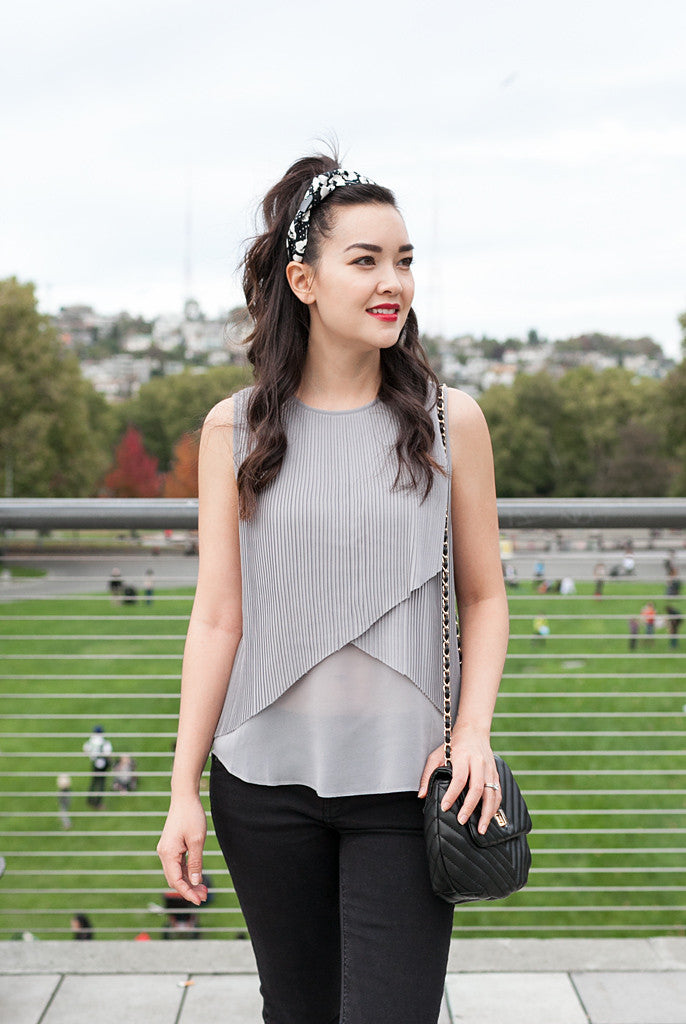 pleated gray fashion top