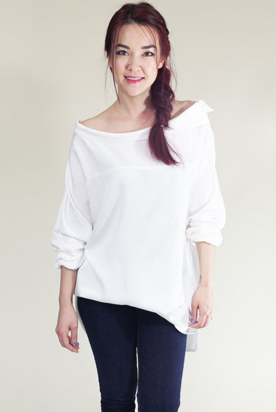 relaxed fit tunic with boat neck collar