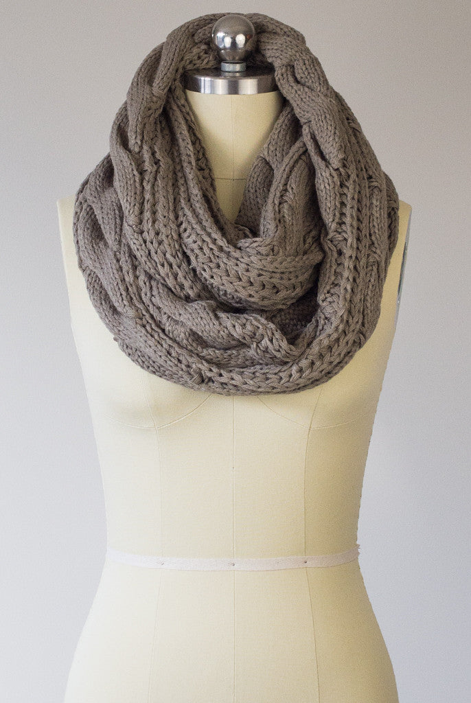 taupe cable knit infinity scarf