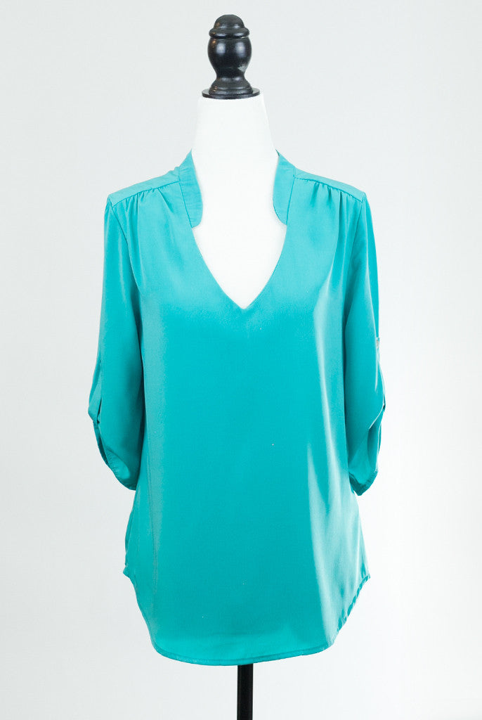 three quarter sleeve mint blouse