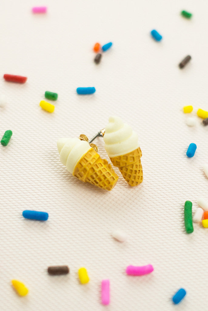 vanilla Ice cream cone food earrings