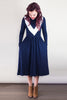 Navy midi dress with contrast v