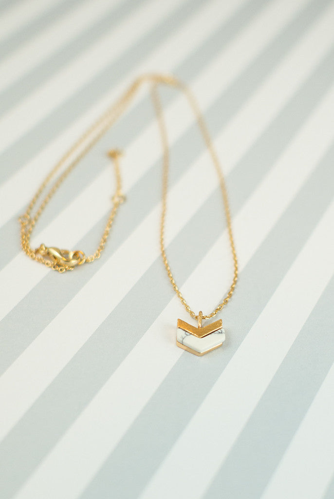 chevron marble and gold pendant