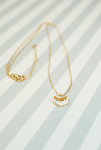 All That's Gold Chevron Marble Necklace