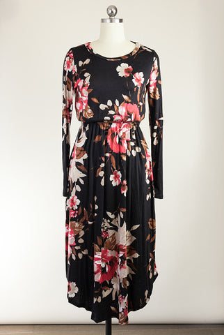 Midnight Bloom Midi Dress with Pockets