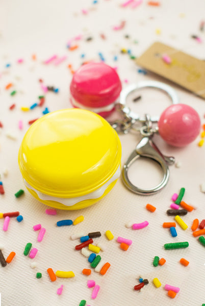 cute macaron keychain with pink and yellow cookies