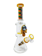 "CHEECH 10"" BUTTON SHOWERHEAD PERC BEAKER - YELLOW"