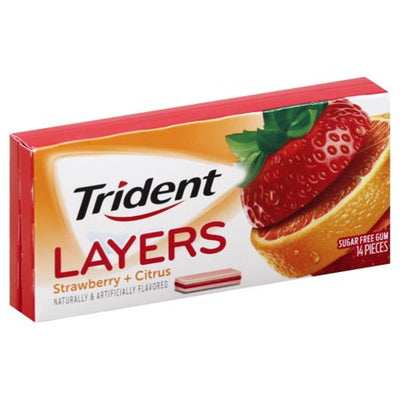 Trident Layers Wild Strawberry Tangy Citrus 14p - Jupiter