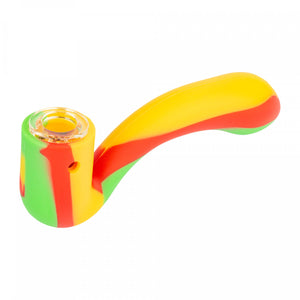 LIT™ SILICONE SHERLOCK HAND PIPE WITH GLASS BOWL | RASTA - Jupiter