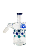 Cheech Glass- 14mm 45 Degree Showerhead Ash Catcher~Clear W/Blue Dots - Jupiter