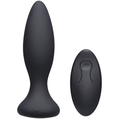 Doc Johnson- A-Play Beginner Vibe Silicone Anal Plug with Remote Black - Jupiter