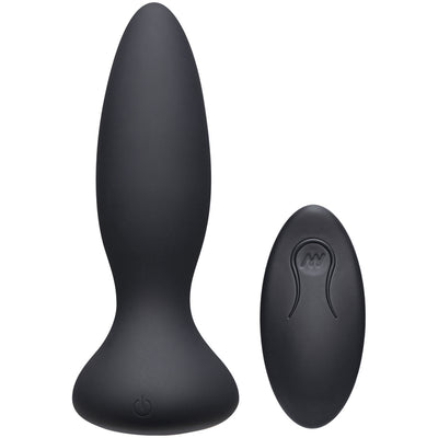 Doc Johnson- A-Play Adventurous Vibe Silicone Anal Plug with Remote Black - Jupiter