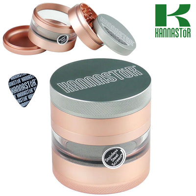 KANNASTÖR SOLID TOP WITH JAR BODY 4 PIECE GRINDER – 2.5″ ROSE GOLD - Jupiter