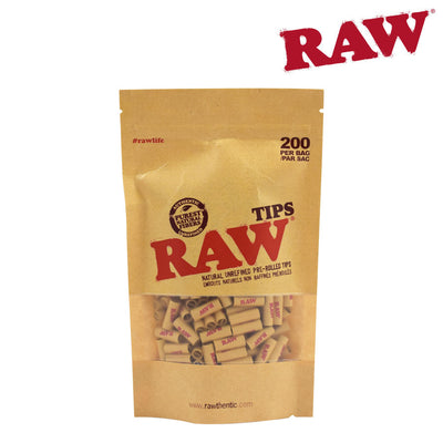RAW TIPS - PRE-ROLLED UNBLEACHED 200 TIPS/BAG - Jupiter