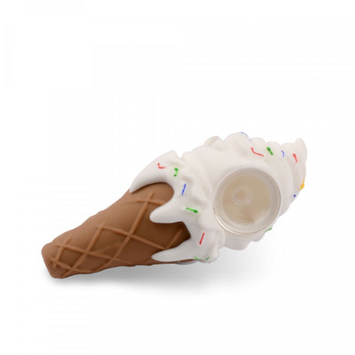 LIT Silicone Ice Cream Cone Pipe- White - Jupiter