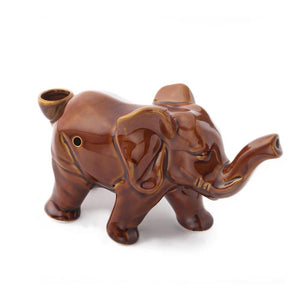 "7"" Elephant Ceramic Pipe - Sienna Brown - Jupiter"