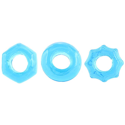 Pipedream Products Deluxe Cock Ring Set Blue - Jupiter
