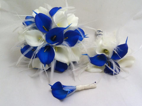Royal elegance real touch calla lily bridal wedding bouquet royal elegance real touch calla lily bridal wedding bouquet collection in blue and white mightylinksfo